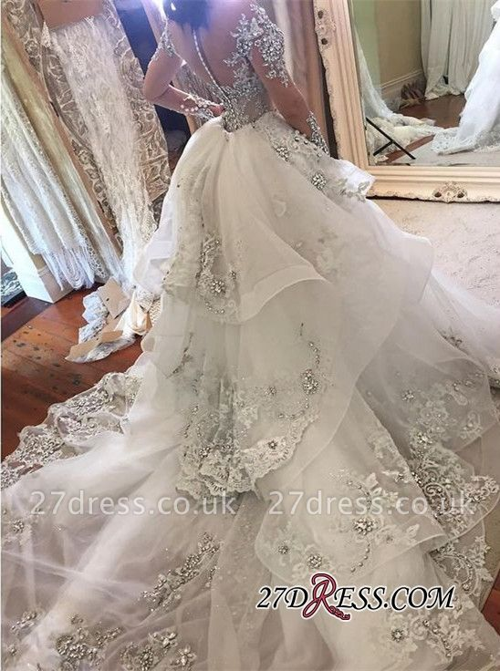 Appliques High-Neck Tulle Long-Sleeves Elegant Detachable-Train Wedding Dresses UK BA7171