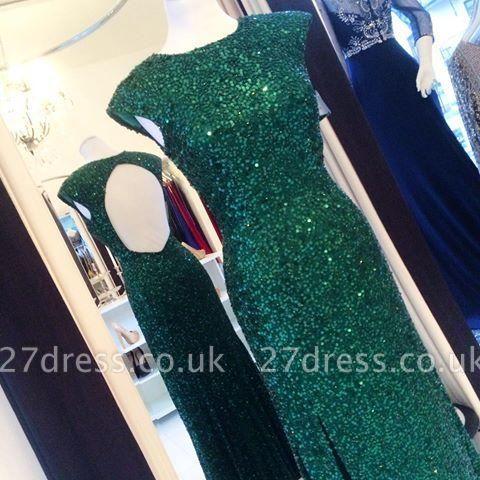 Floor-length Backless Sheath-Column Sequins Elegant Green Evening Dress UK