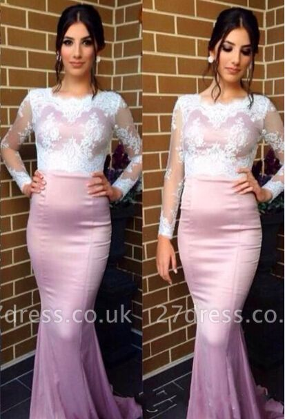 Elegant Jewel Long Sleeve Mermaid Prom Dress UK With Lace Appliques