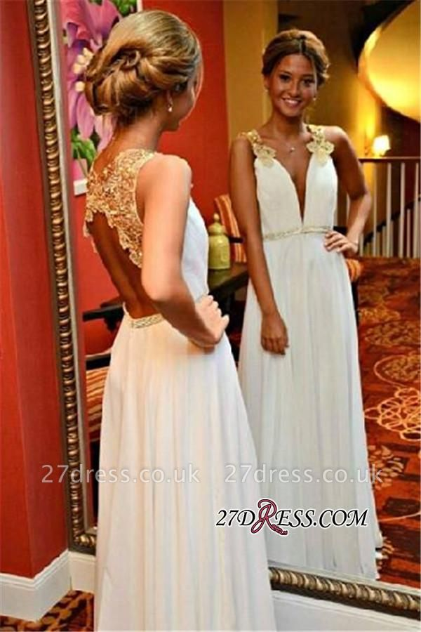 Appliques Open-Back Sleeveless White Beadings V-Neck A-Line Prom Dress UK