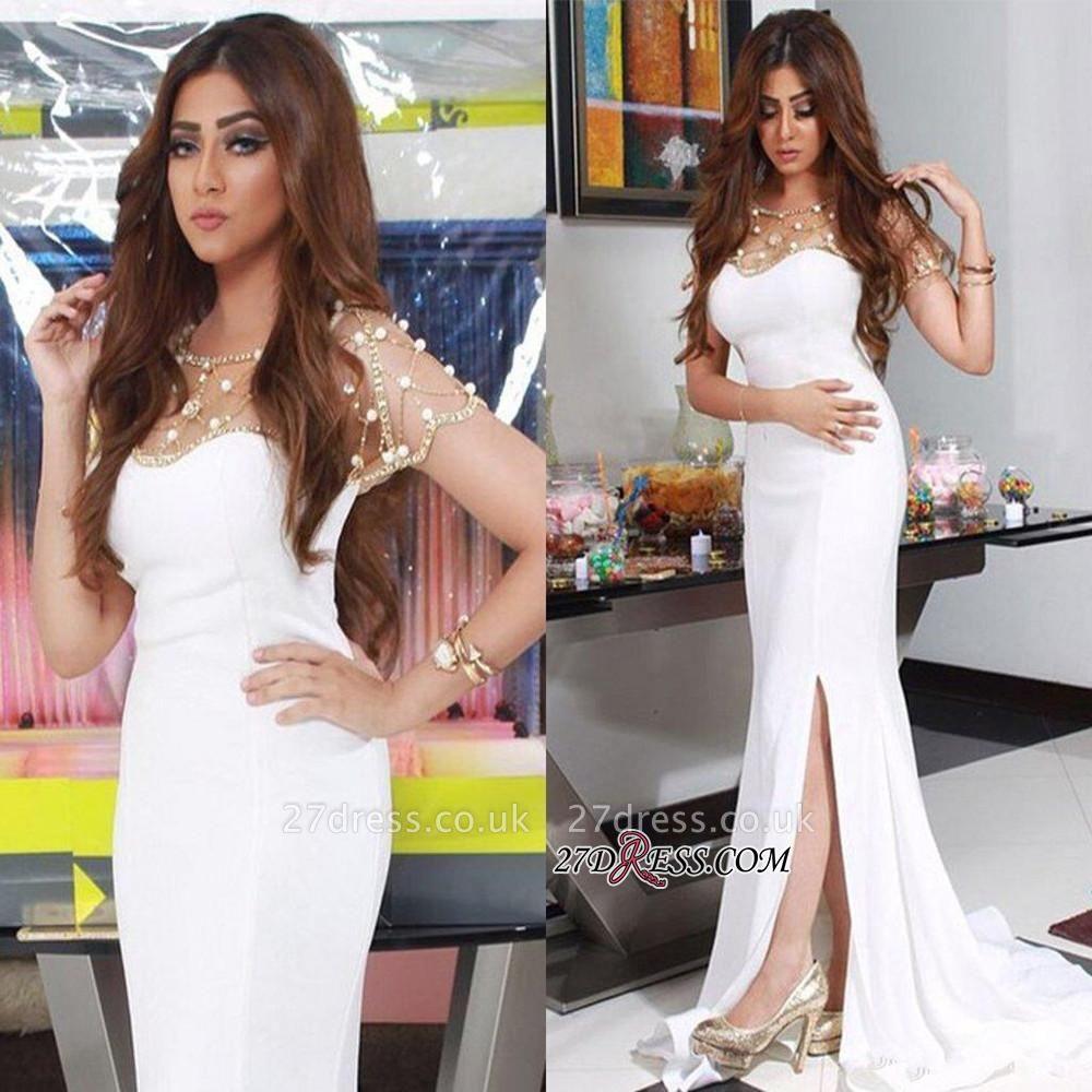 Luxury Beadings Chiffon White Mermaid Split Evening Dress UK