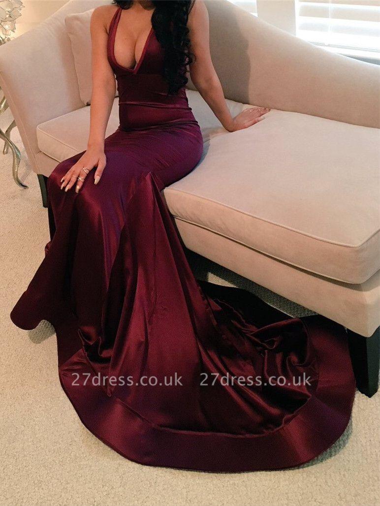 Elegant V-Neck Wine Red Sleeveless Prom Dress UK Mermaid BA4623 BK0