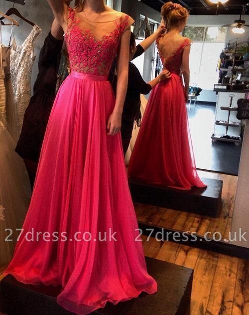 Luxury Fuchsia Sleeveless Evening Gowns Appliques Long Chiffon