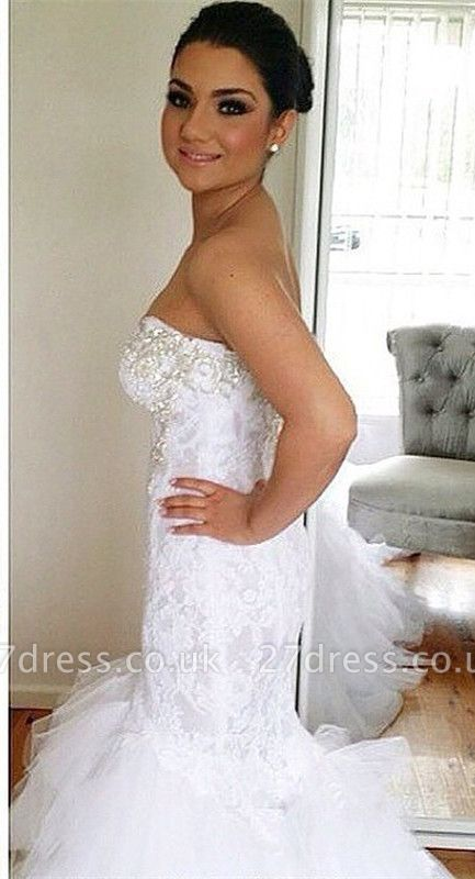 Elegant Sweetheart  Sexy Mermaid Lace Wedding Dresses UK Court Train Bridal Gowns with Beadss