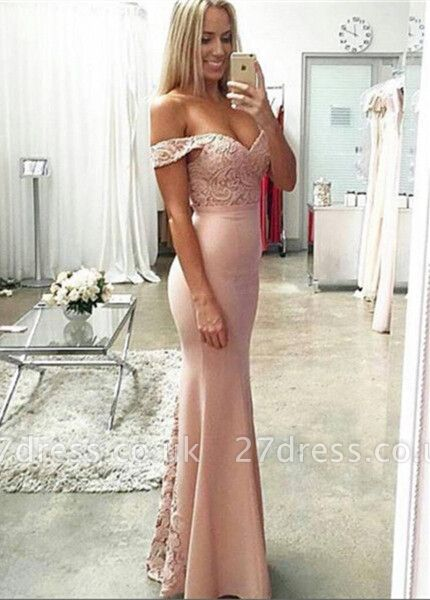 Newest Off-the-shoulder Mermaid Prom Dress UK Lace Floor-length