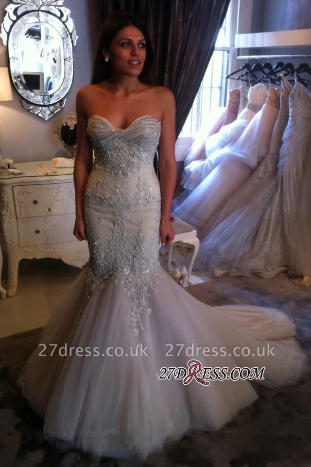 Beadings Mermaid Sexy Appliques Sweetheart Tulle Prom Dress UK