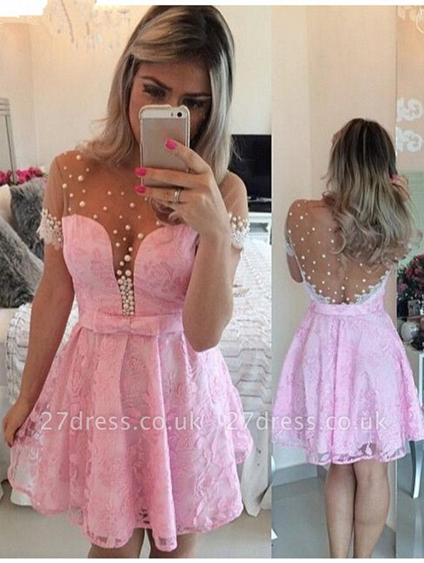 Lovely Pink Cap Sleeve Homecoming Dress UK Lace Pearls BT0