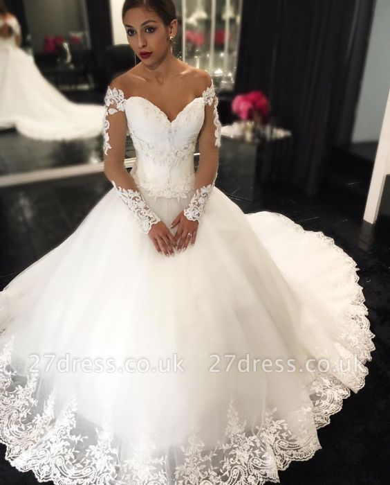 Elegant Sweetheart Off-the-Shoulder Wedding Dresses UK Long Sleeves Appliques Bridal Gowns