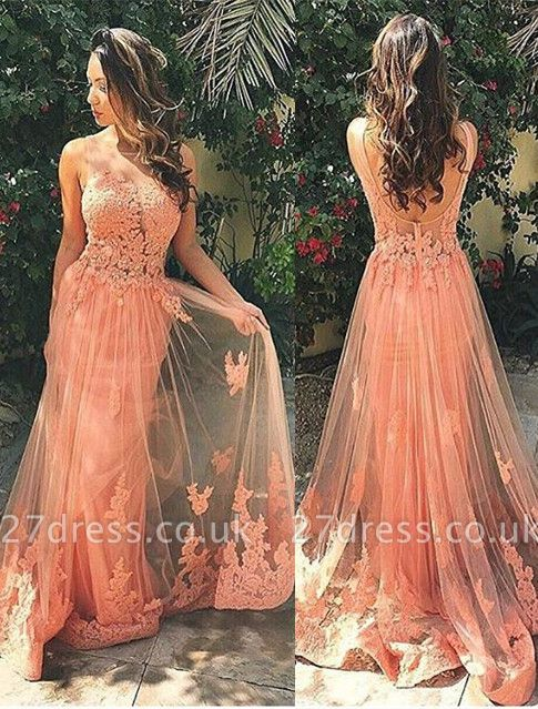 Luxury Sleeveless Lace Prom Dress UK Tulle Open Back