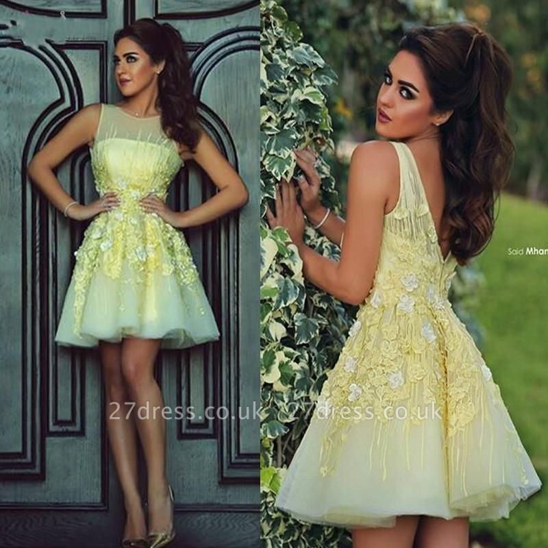 Modern Illusion Sleeveless Short Homecoming Dress UK With Flowers Appliques