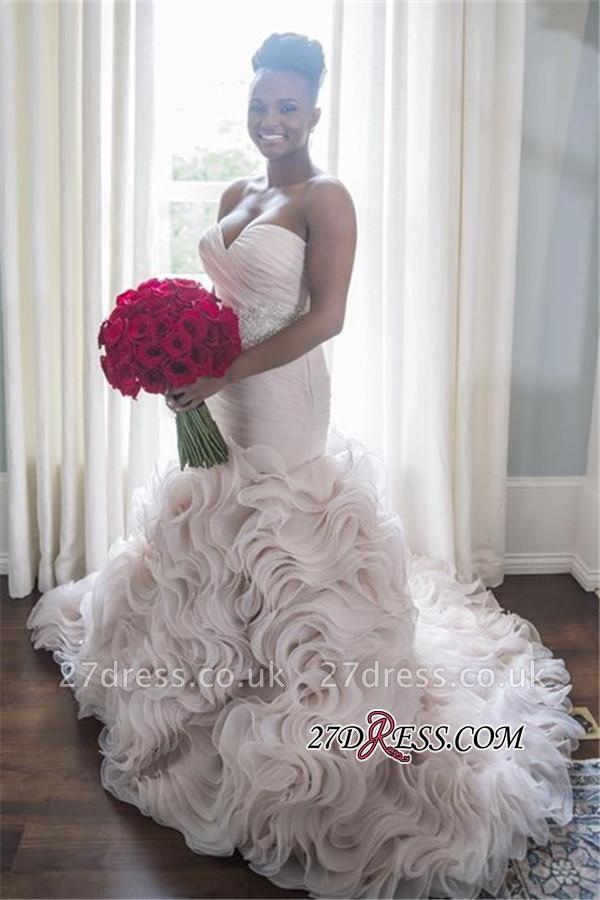 Open-Back Sleeveless Sheath Sweetheart Ruffles Organza Wave-Design Court-Train Wedding Dress