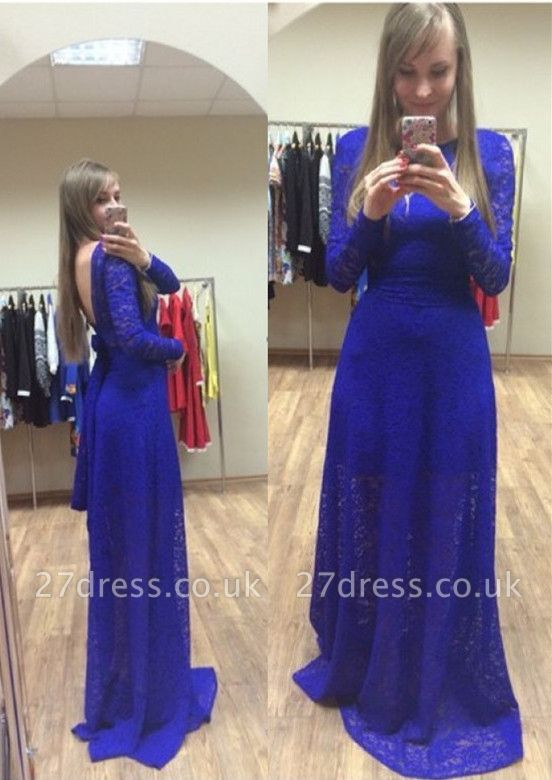 Newest Royal Blue Lace Prom Dress UK Long Sleeve A-line