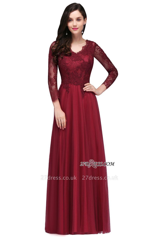 V-Neck Long-Sleeves Burgundy Floor-Length A-line Prom Dress UKes UK