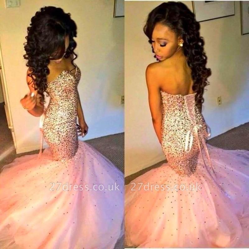 Gorgeous Sweetheart Mermaid Pink Prom Dress UK Sleeveless Lace-up
