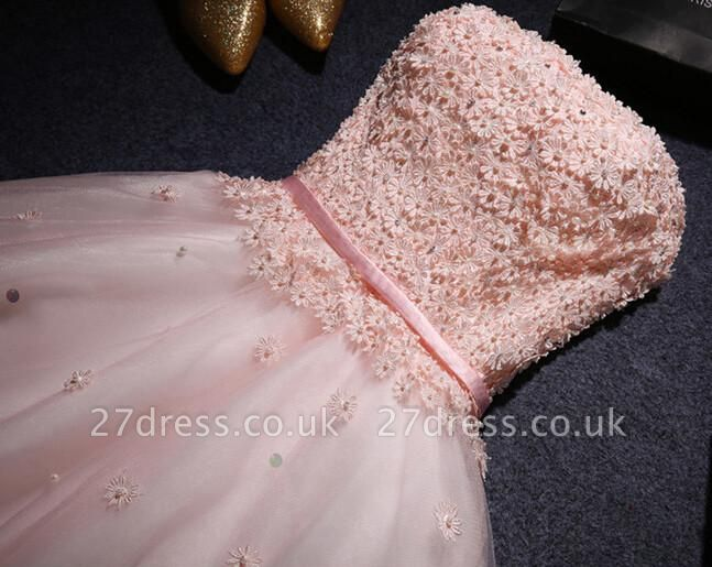 Lace Sweetheart Sleeveless Appliques Flowers Mini Delicate Homecoming Dress UK