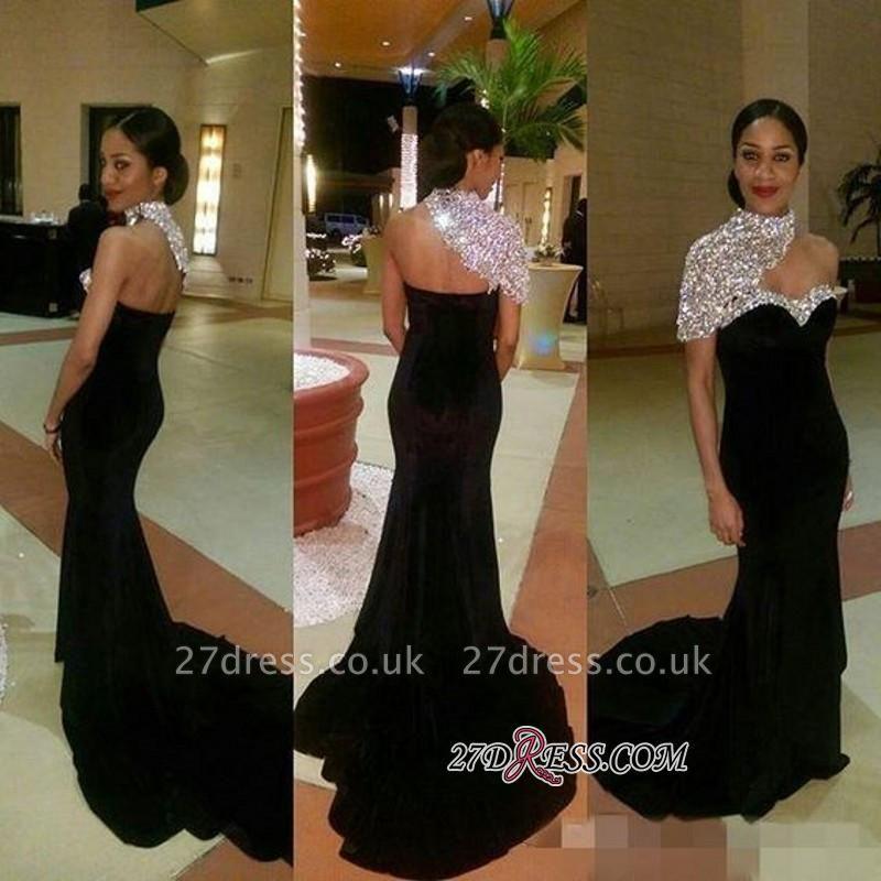 Mermaid One-Shoulder Black Sexy High-neck Crystal Prom Dress UKes UK