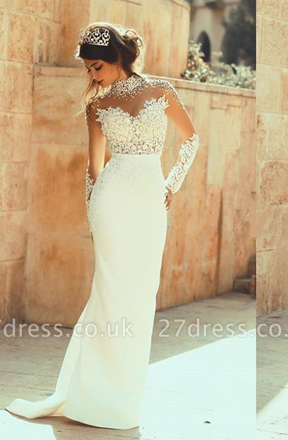 Elegant High Neck Long Sleeve Sexy Mermaid Wedding Dress Appliques