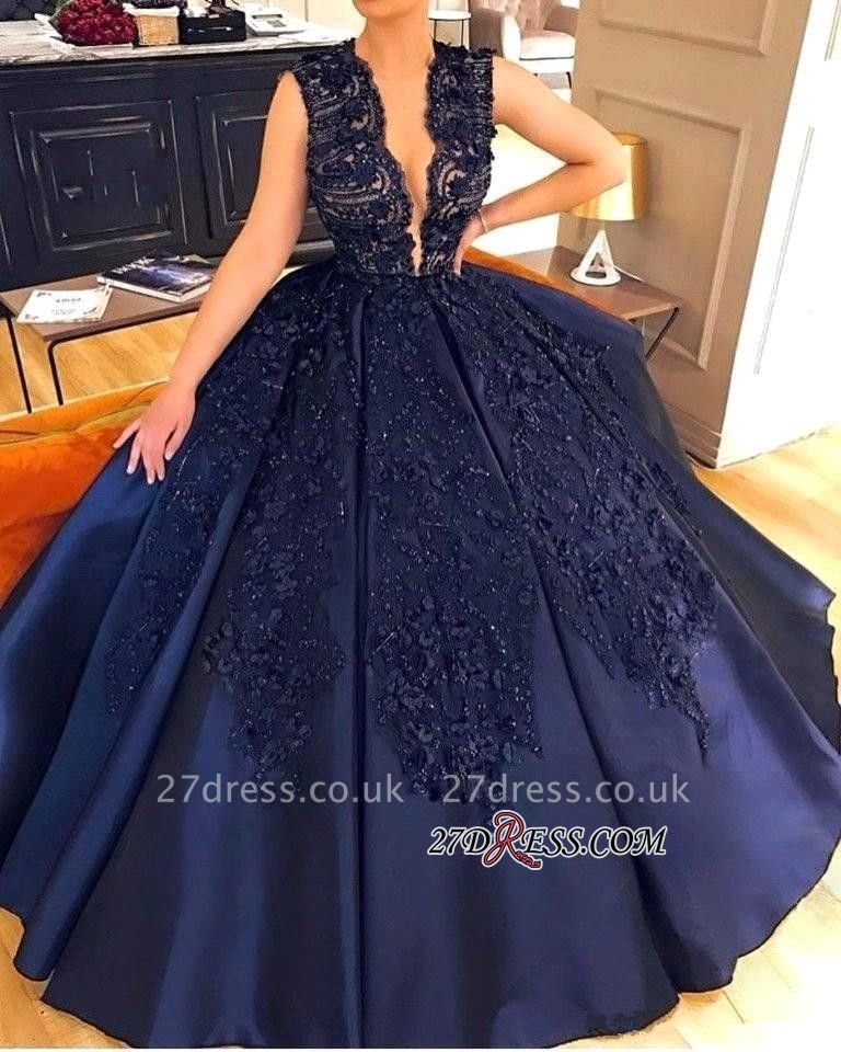 Navy Sleeveless Evening Dress UK | Ball-Gown Prom Dress UK