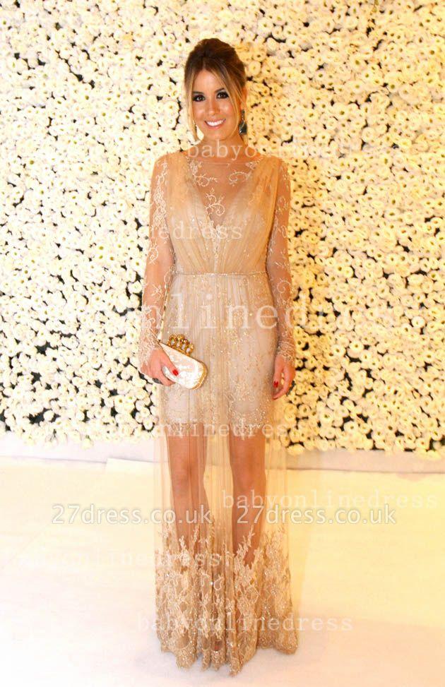 Shining Lace Long Prom Dress UKes UK Jewel Long Sleeve Vestidos Dress UK Applique Backless