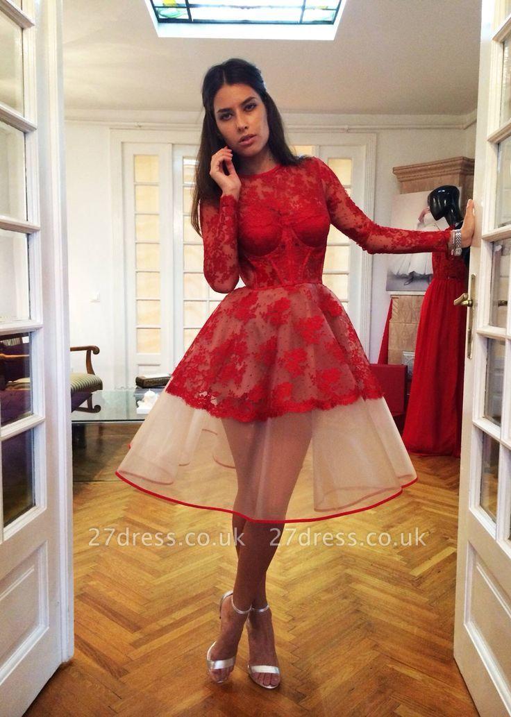 A-Line Long Sleeves Homecoming Dress UKes UK   Jewel Lace Short length Cocktail Dress UKes UK