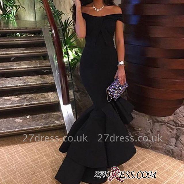 Off-the-Shoulder Black Hi-Lo Mermaid Prom Dress UK BA4619