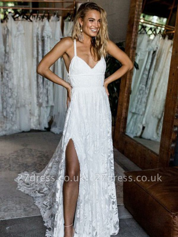 Chic Full Lace Prom Dress UK Online With Split BA7431