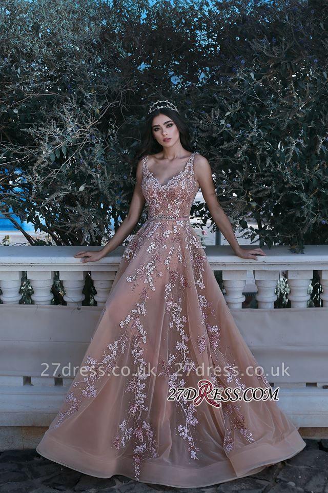 Gorgeous V-neck Sleeveless Evening Dress UK Lace Appliques Long MH0
