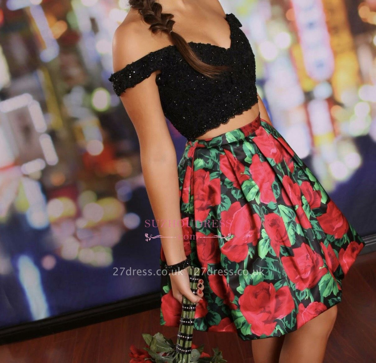 Floral Lace-Beaded Black Two-Piece Off-the-Shoulder Homecoming Dress UKes UK