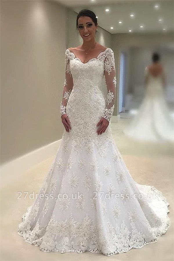 Elegant Tulle Cheap Long Sleeves Wedding Dresses UK | V-Neck  Sexy Mermaid Appliques Bridal Gown