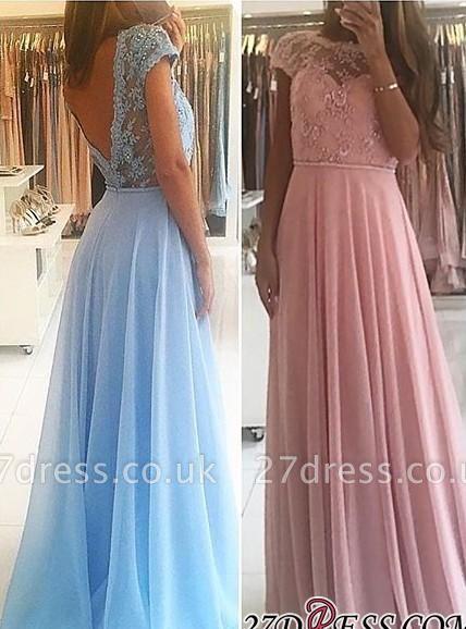 Lace A-line Chiffon Short-Sleeves Chic Floor-length Evening Dress UK