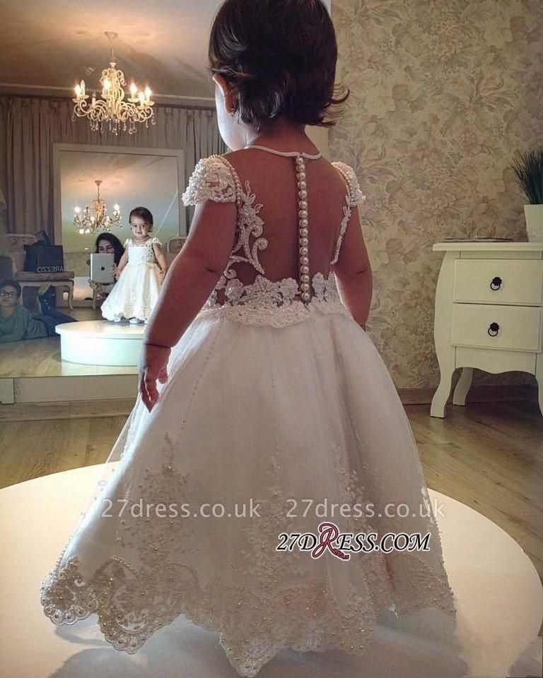 Short-Sleeves A-line Flower Lace Pearls Girl Dress BA6180
