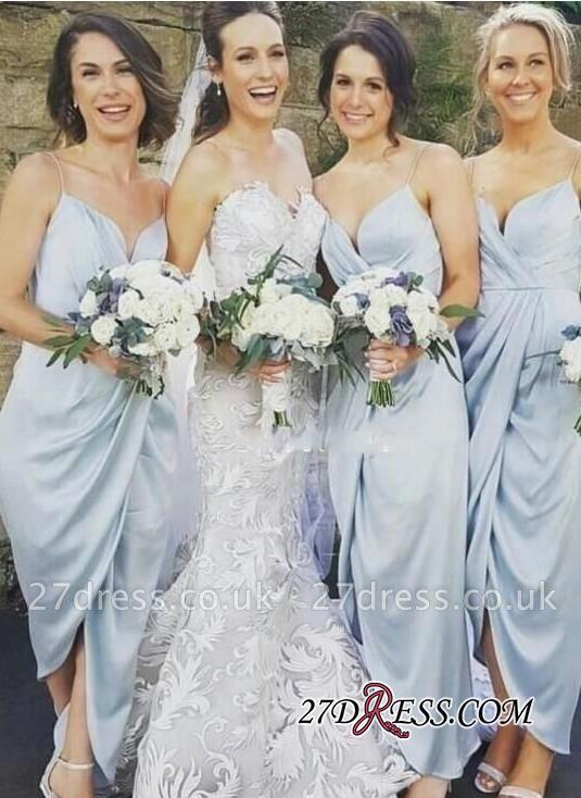 Spaghettis-Straps Ruffles Slit Sheath Sky-Blue Bridesmaid Dress UKes UK
