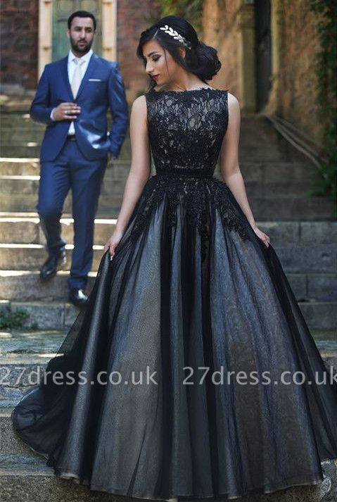 Sexy Sleeveless Tulle Black A-line Evening Dress UK Lace Appliques bo8949