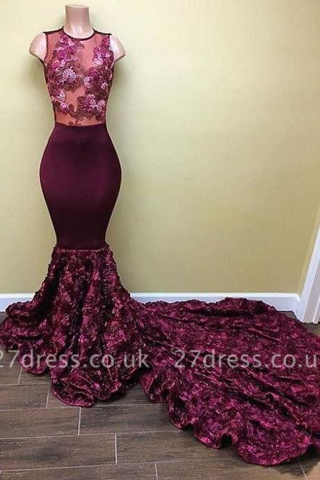 Luxury Sleeveless Mermaid Prom Dress UK With Flowers Bottom RM0 BA8008
