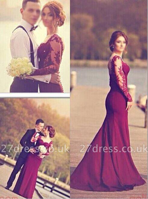 Luxury Long Sleeves Lace Appliques Evening Dress UK Mermaid Floor-Length