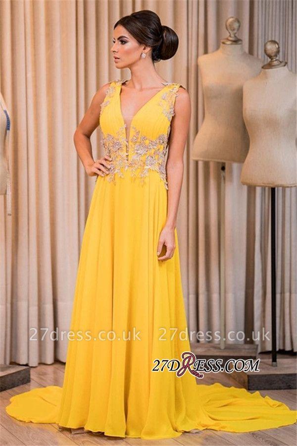 Yellow prom Dress UK, long chiffon evening gowns