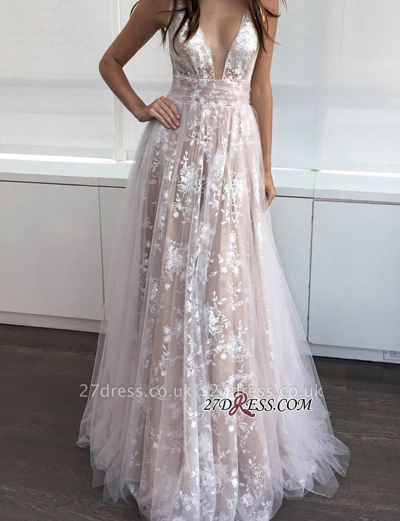 A-line Layers Elegant Lace-Appliques Deep-V-Neck Prom Dress UKes UK