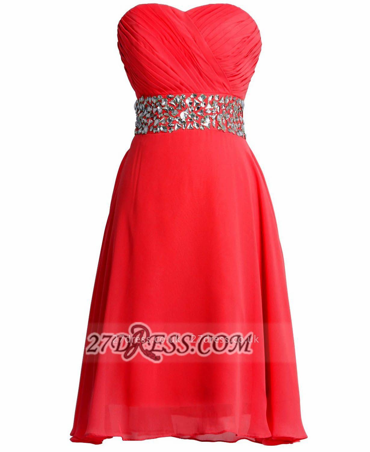 Sexy Semi-sweetheart Sleeveless Chiffon Cocktail Dress UK Zipper Crystals Red Short Homecoming Gown