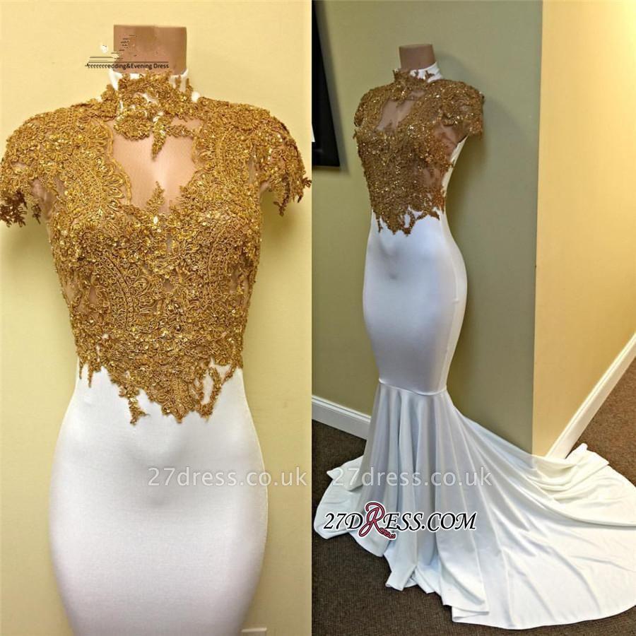 Luxury Cap-Sleeve Gold-Appliques White Mermaid Prom Dress UK PT0322