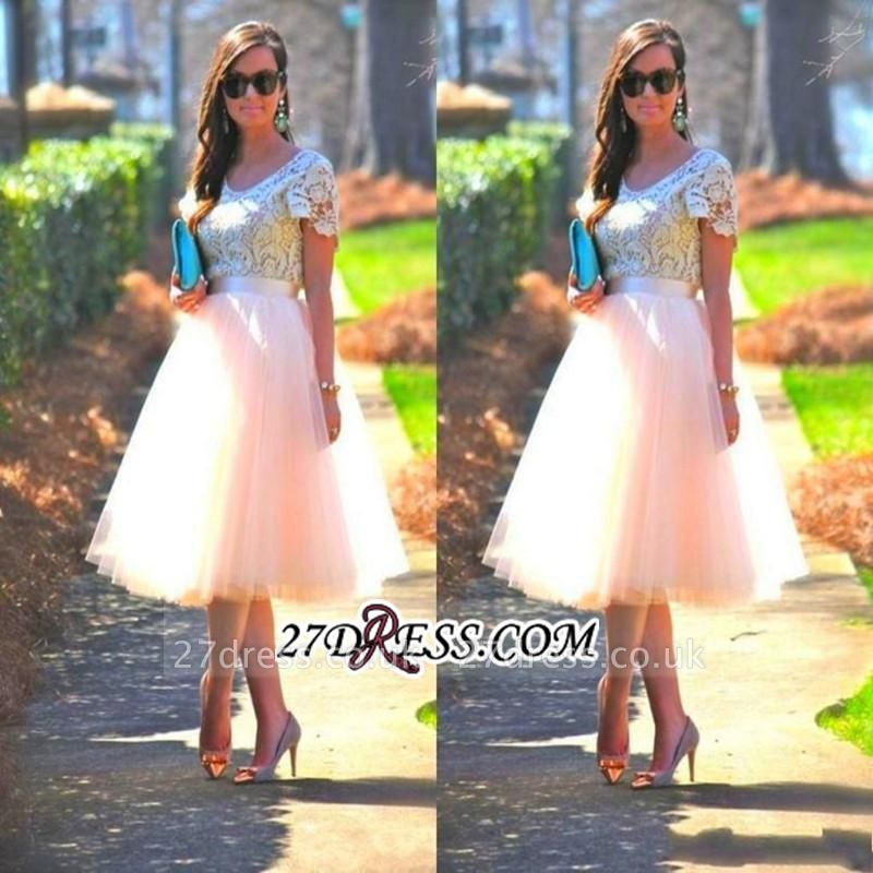 Lace Tulle Short-Sleeves A-Line Tea-Length Homecoming Dress UK