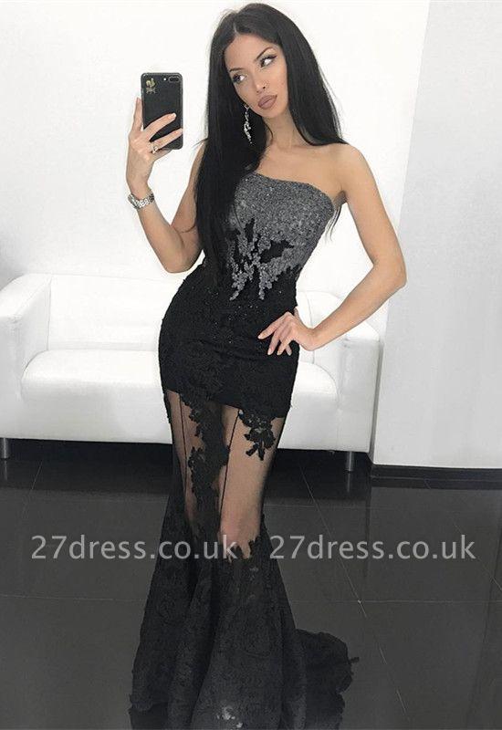 Elegant Black Strapless Mermaid Ball Dress UK Sheer Skirt Appliques Prom Dress UK