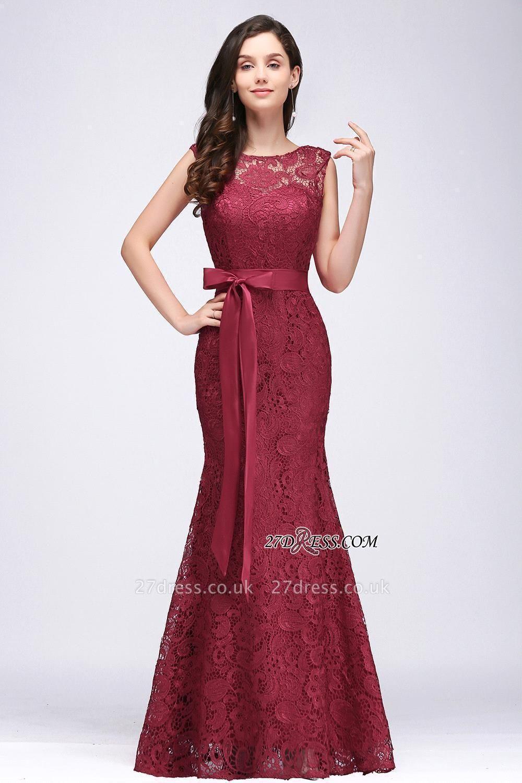 Bowknot-Sash Lace Floor-Length Burgundy Sleeveless Mermaid Prom Dress UKes UK