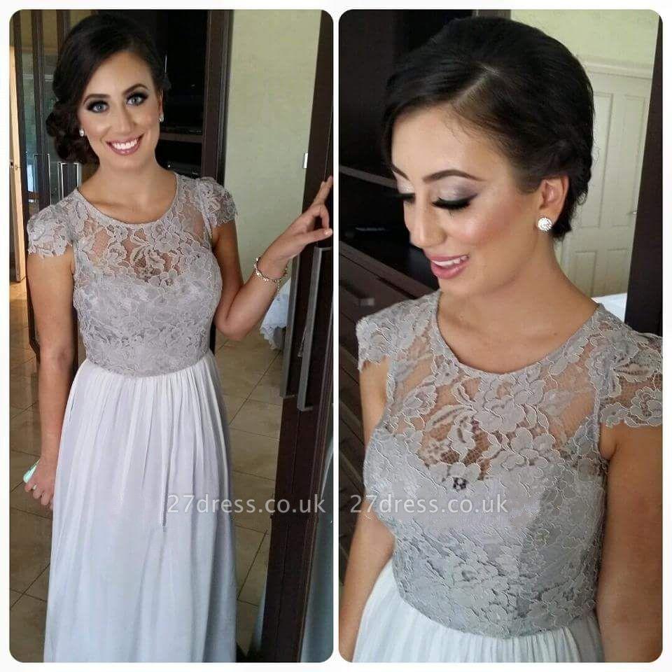 Sexy Illusion Cap Sleeve Chiffon Bridesmaid Dress UK With Lace