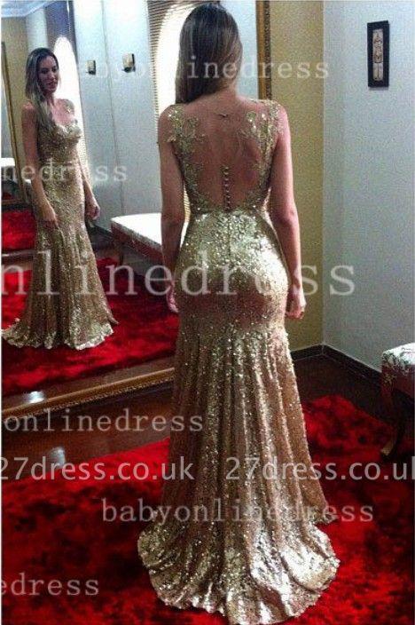 Long Backless Vestidos Shining Sheath Dress UKes UK Appliques Golden Blingbling Gowns