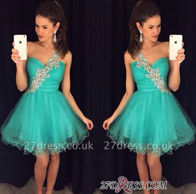 Luxury A-Line Tulle Appliques Short One-Shoulder Homecoming Dress UK AP0