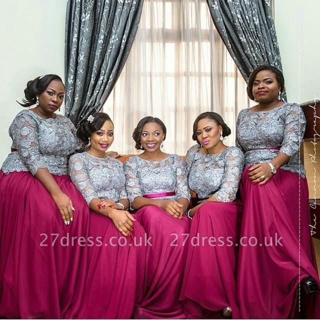 Luxury Long Sleeve Applques Bridesmaid Dress UK Fuchsia Long chiffon