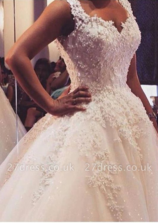 Delicate V-neck Tulle Lace Appliques Wedding Dress Ball Gown