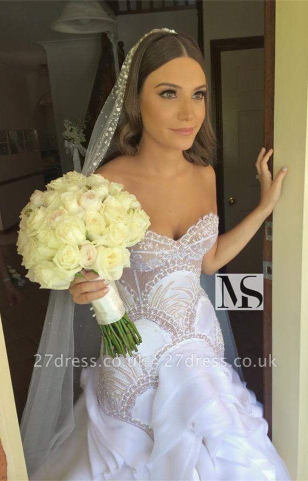 Delicate Sweetheart Sleeveless Wedding Dress With Beadss Ruffles