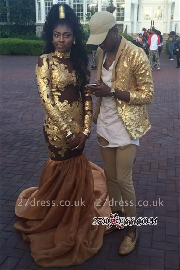 High-Neck Amazing Appliques Long-Sleeve Gold Mermaid Prom Dress UK JJ0102 BK0