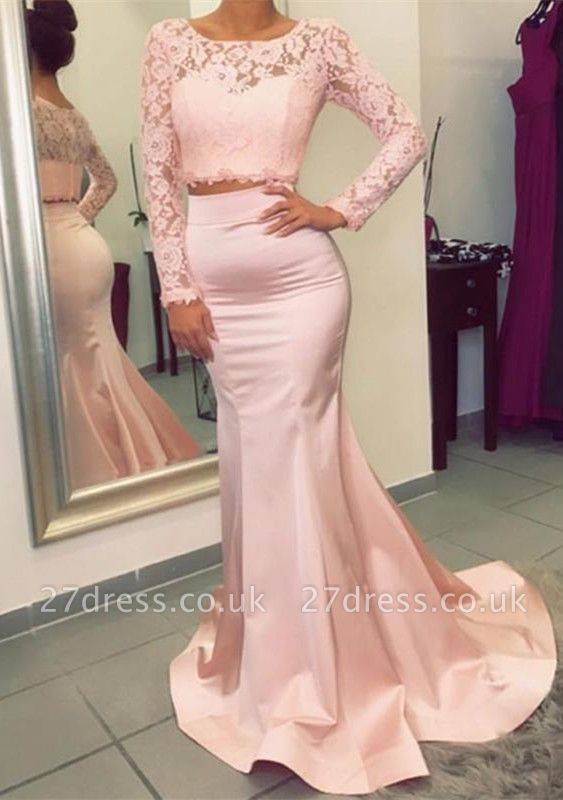 Luxury Long Sleeve Lace Prom Dress UK Two Pieces Mermaid Evening Gowns